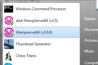 WAMP start menu shortcuts