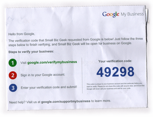 Google My business postcard PIN