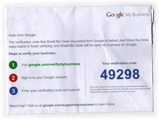 Google My business postcard PIN