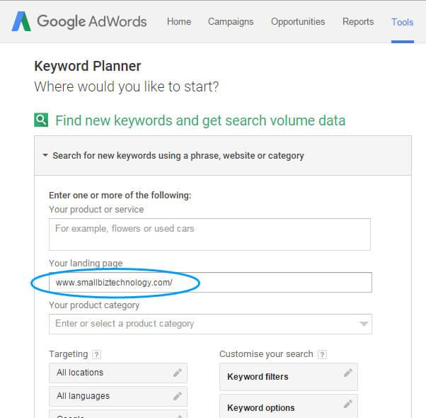 Google Adwords Keyword Planner Landing Page URL