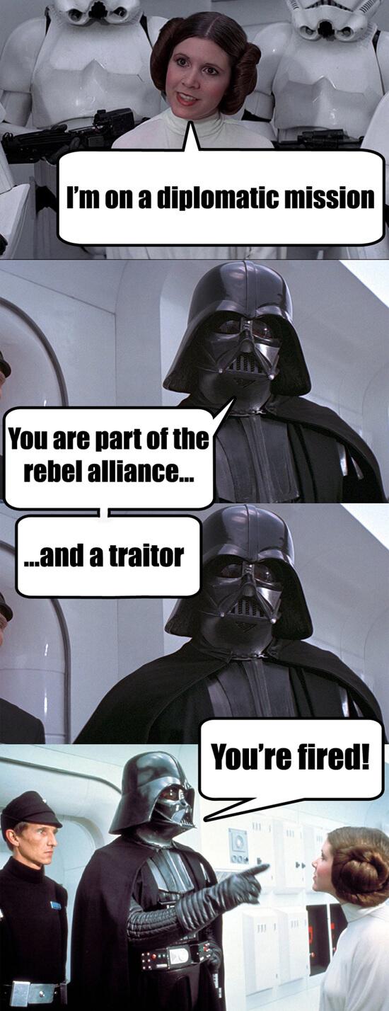 Darth Vader Rebel Alliance Defeat on Ship