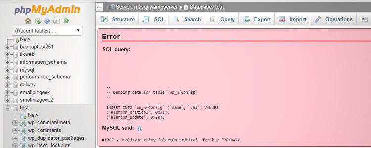 phpMyAdmin database import error