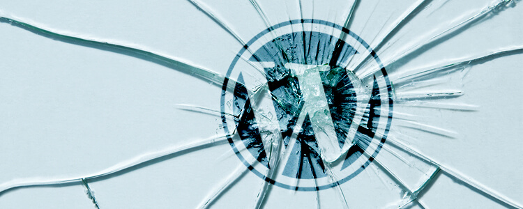 WordPress logo broken glass