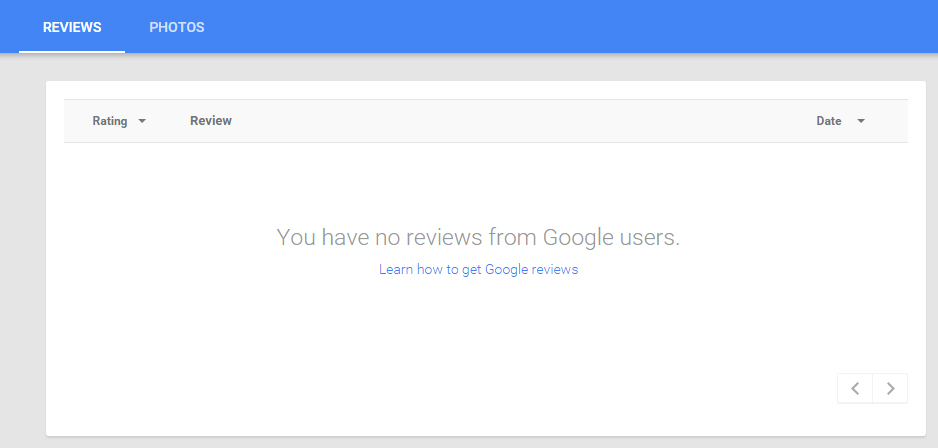 Google My Business dashboard shows no reviews