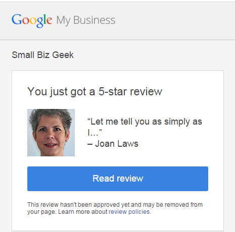 Google review email alert