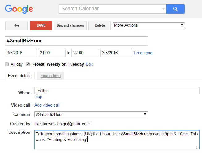 Google Calendar Responsive Design : Anally retentive twitter tips for hosting a successful