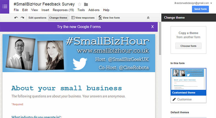 Small Biz Hour Google Forms survey example