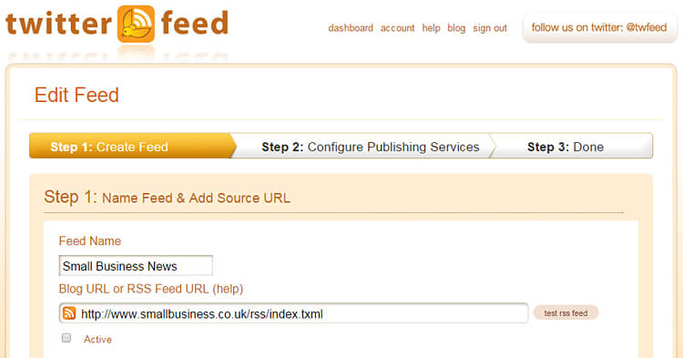 Twitterfeed RSS aggregation screenshot