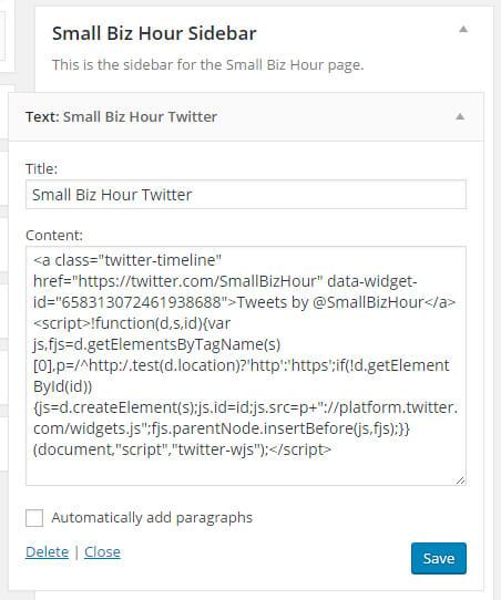 Embedded Twitter timeline in WordPress Sidebar Widget