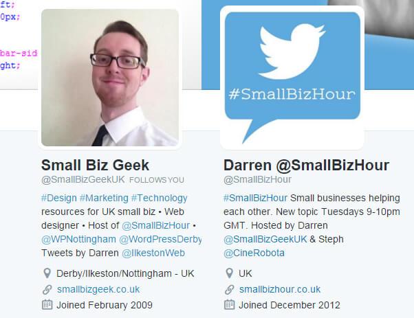 Twitter profile screenshots