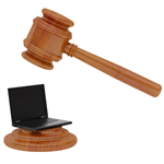 EU digital law gavel and laptop