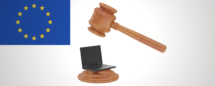 EU digital law gavel and laptop