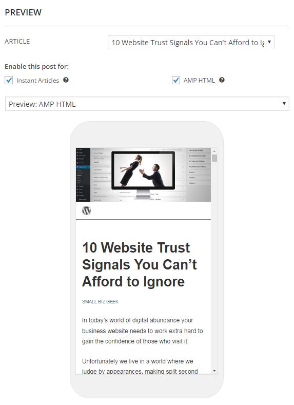 Google AMP WordPress Plugin Preview