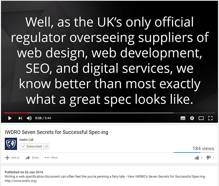 Video screenshot of false claim made by company posing as regulator