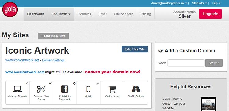 Yola dashboard screenshot