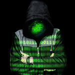Cyber criminal wearing a hooded top