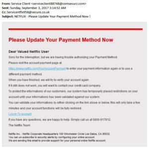 Fake Netflix email