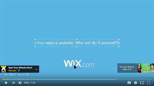 Wix website YouTube advert