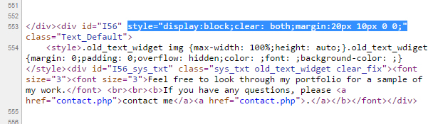 Yola Inline CSS styles