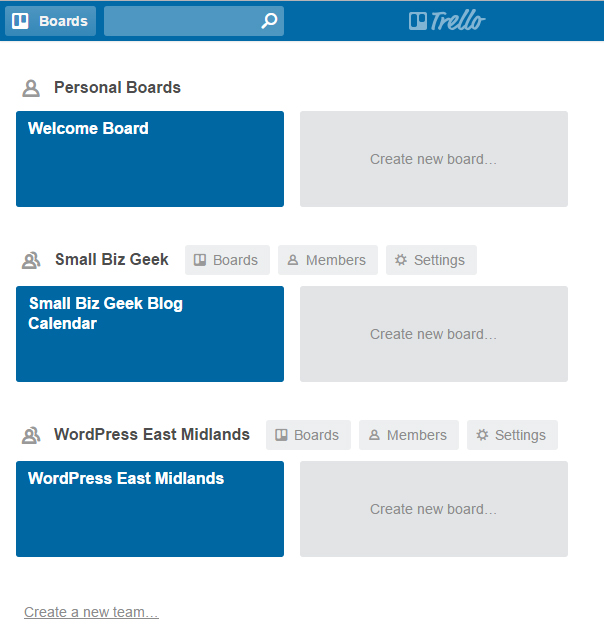 Trello boards on home screen