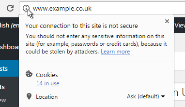 Google Chrome warning: the connection to this site is not secure