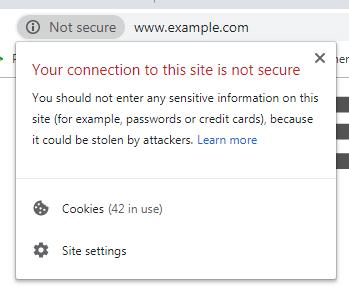 Google Chrome website Not Secure