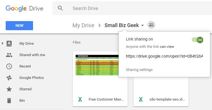 Google Drive link share