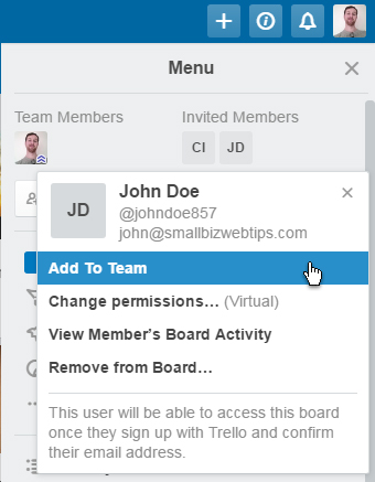 Add Trello board member to team