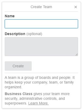 Create new Trello team