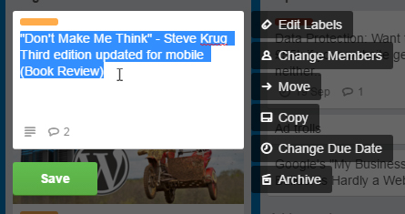 Trello edit card title