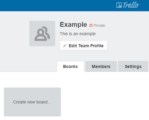 Edit Trello team profile