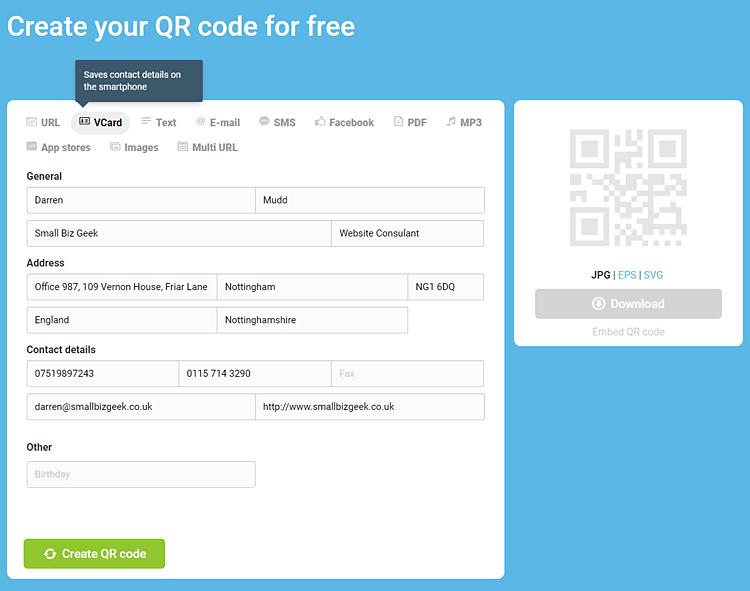 Create a V Card QR Code