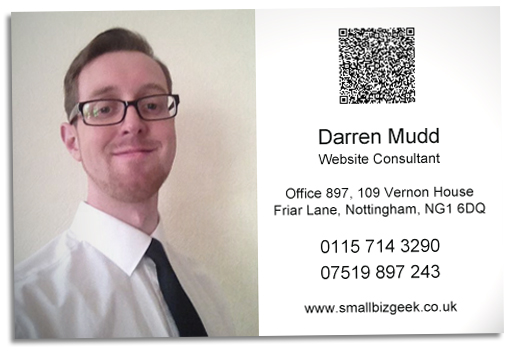 vCard QR code on business card
