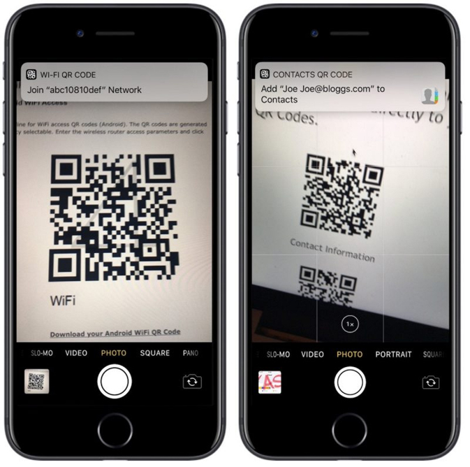 iOS 11 QR scanner in camera