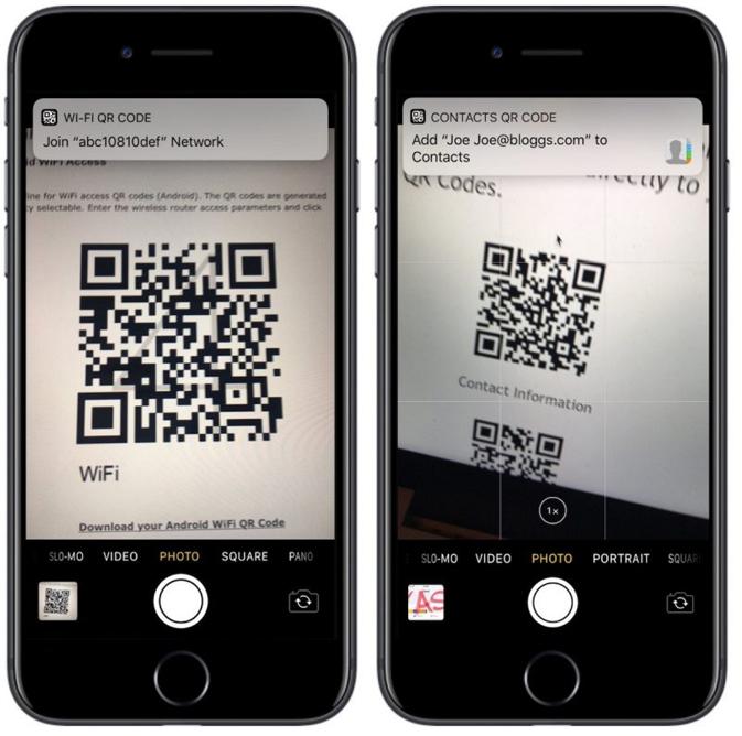 iOS 11 QR scanner in camera