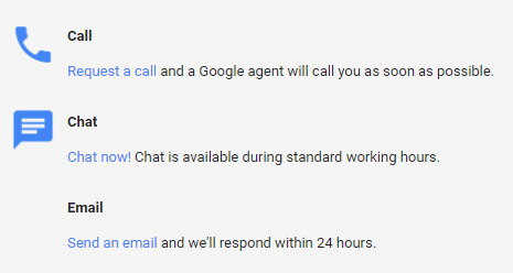 Google My Business phonecall, instant chat or email