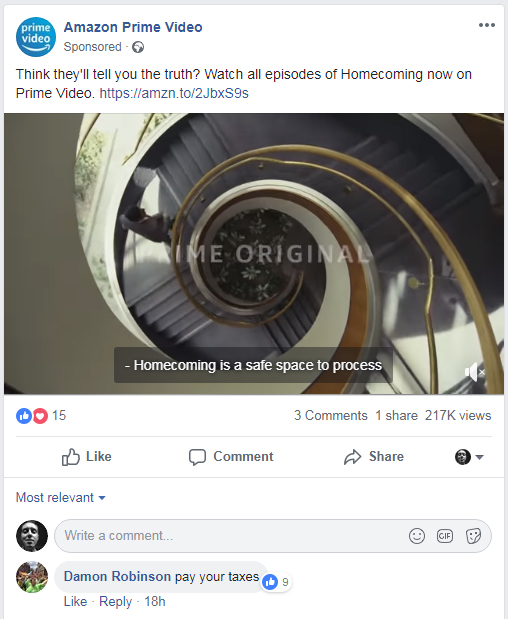 Amazon Facebook sponsored post with troll comments