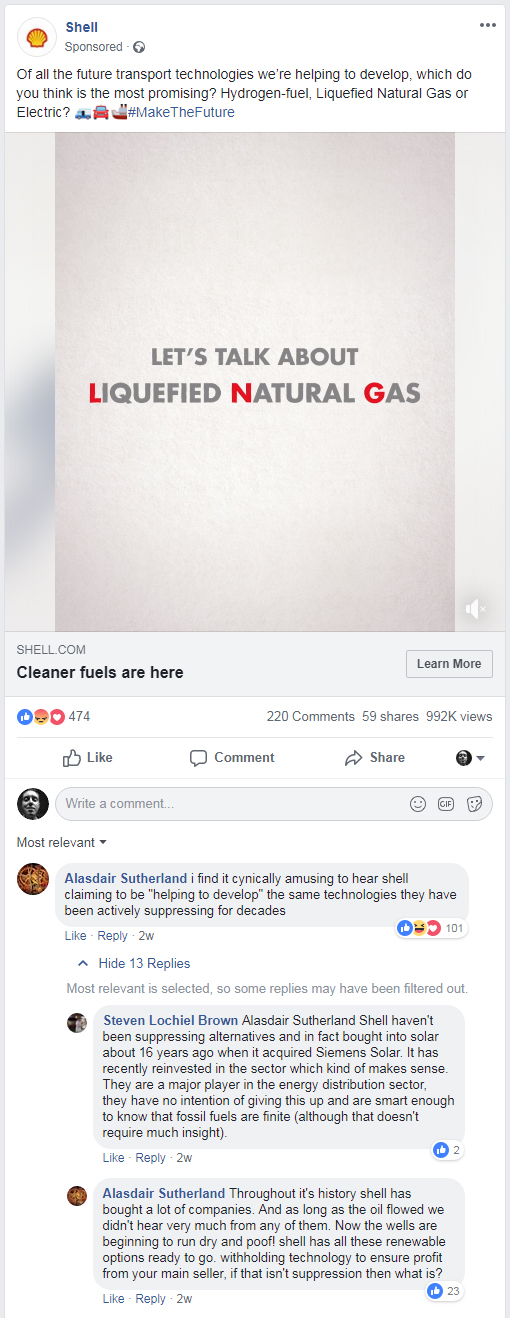 Shell Oil Facebook status screenshot