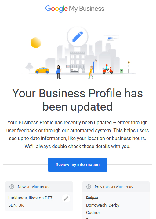 Google My Business Email Edit Notification
