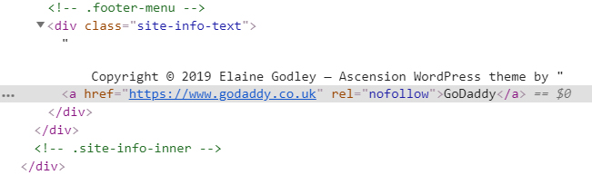 WordPress GoDaddy footer link HTML code