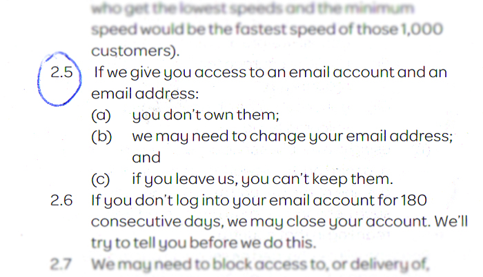 TalkTalk terms and conditions broadband and email account