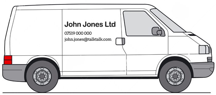 Graphic illustration of a work vehicle with email address and phone number