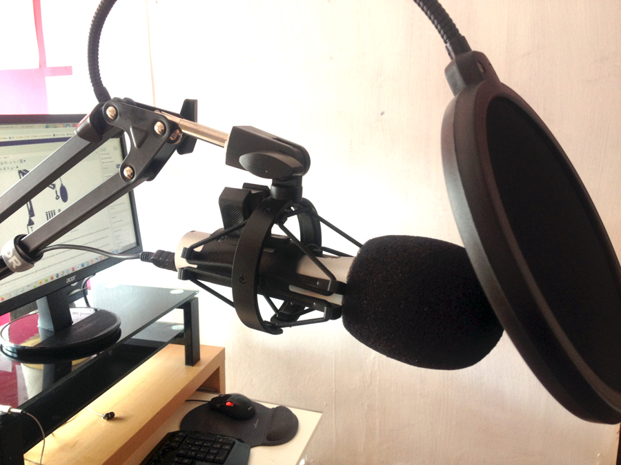 Photo of TONOR T20 mic boom arm stand holding ATR 2100 microphone