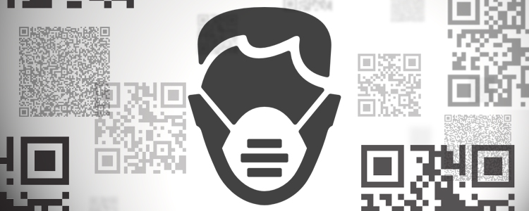 Graphic image of Face mask and QR codes