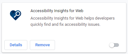 Screenshot of Accessibility Insights free Chrome extension