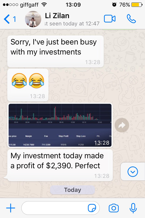 Tinder scammer WhatsApp conversation screenshot
