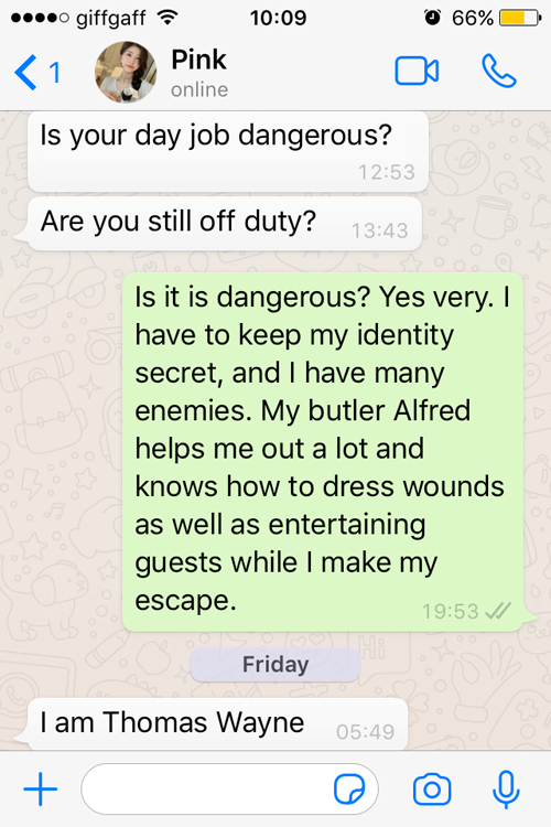 WhatsApp conversation with a female Tinder scammer