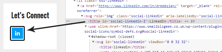 Screenshot of website code of an SVG icon marked up with title tag