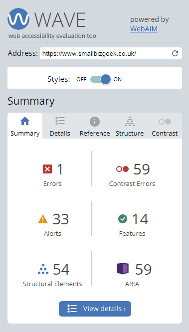 Screenshot of WAVE tool website accessibility report summary