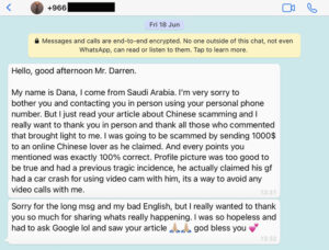 Screenshot of a WhatsApp message from a woman who was almost scammed